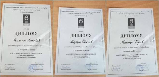 Дипломе за такмичење Књижевна олимпијада